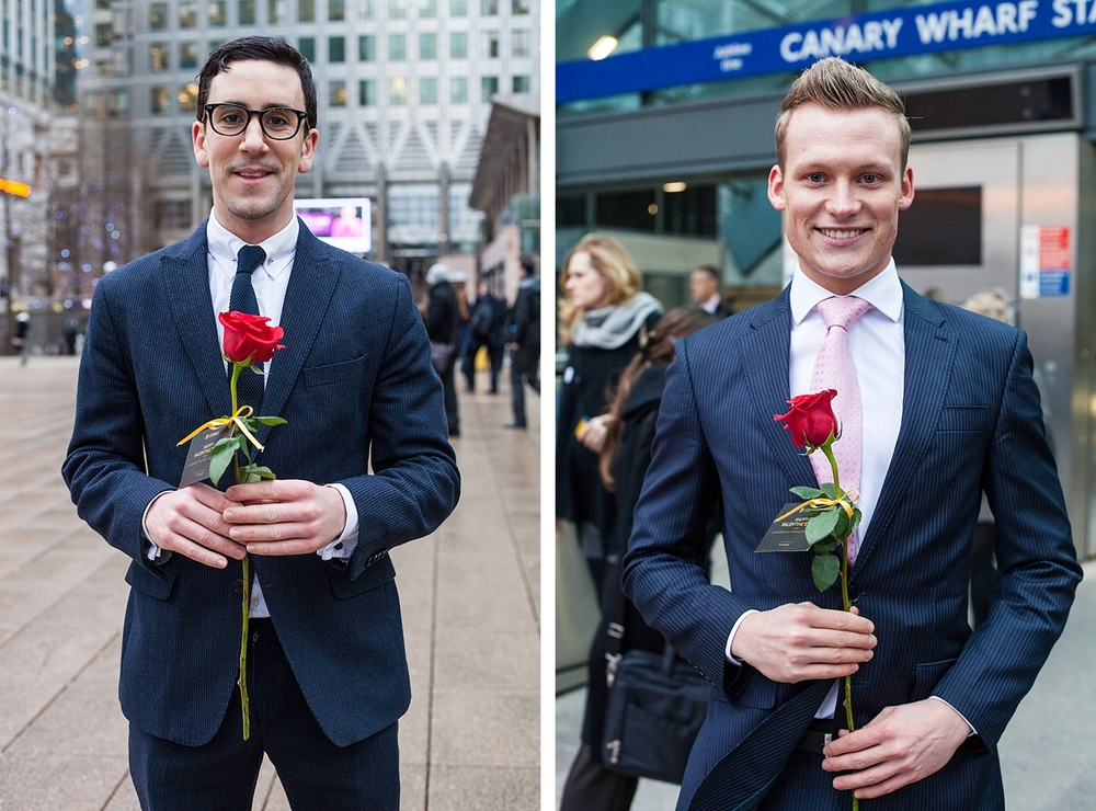 Young suitors stand ready to give red roses on Valentines day.