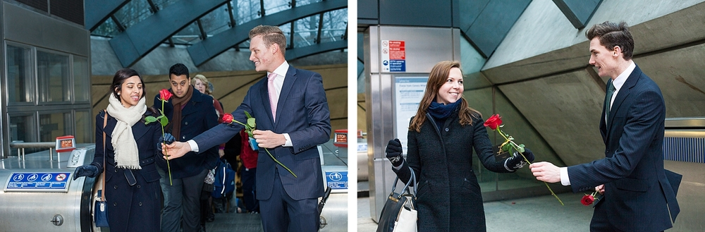 Smiling commuting women receive red roses on Valentines day courtesy of Chivas Whisky