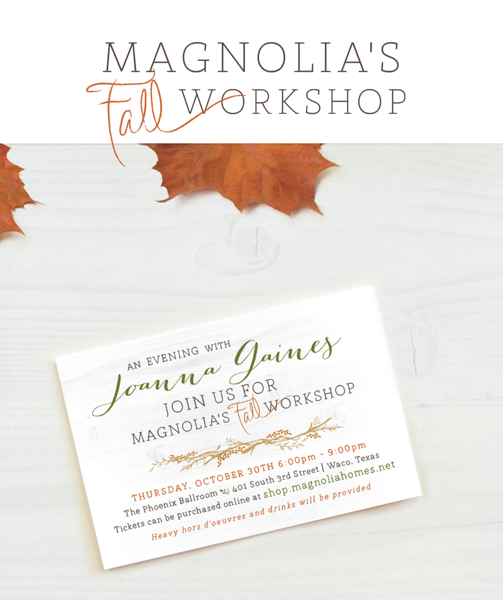 Magnolia Market fall workshop invite