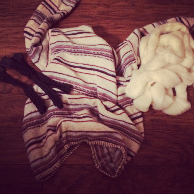 DIY Wool Dryer Ball Supplies: wool sweater from Goodwill, wool roving, and hose