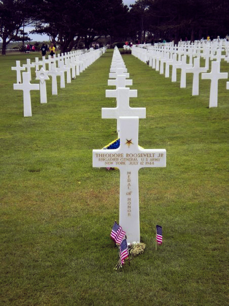 The grave of Theodore Roosevelt Jr, who is buried in Normandy, France