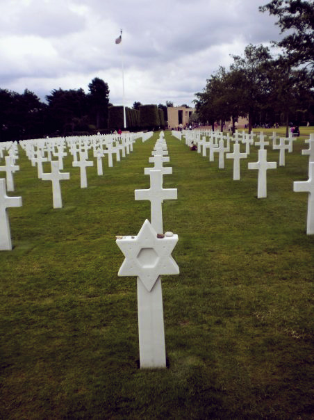 A Star of David marking the grave of a US soldier in the Normandy American Cemetery in Normandy, France