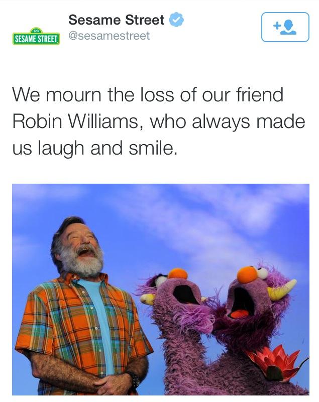 Sesame street mourns Robin Williams