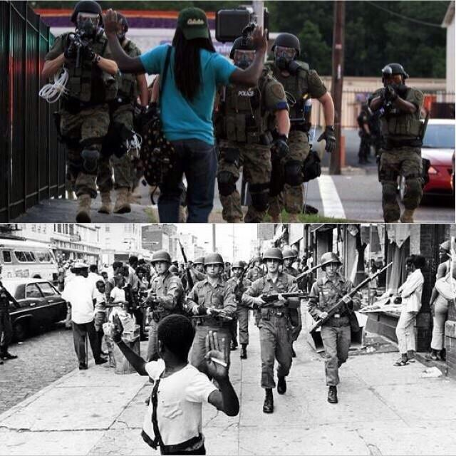 Top image from Ferguson, MO in 2014. Bottom from Newark, NJ in 1967.