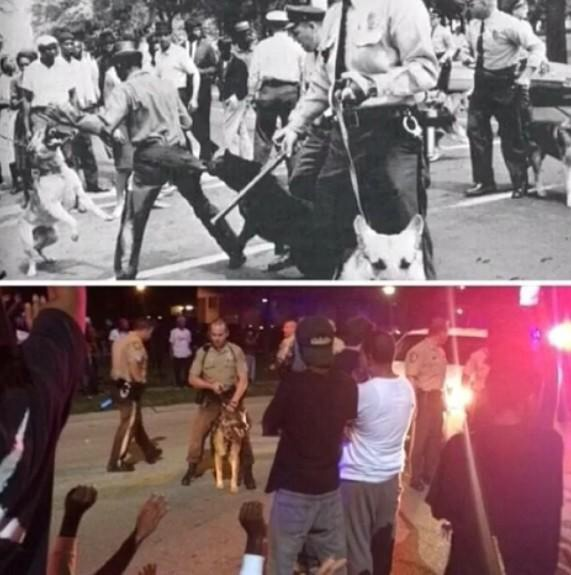 Top image from Birmingham, AL in 1963. Bottom from Ferguson, MO in 2014.