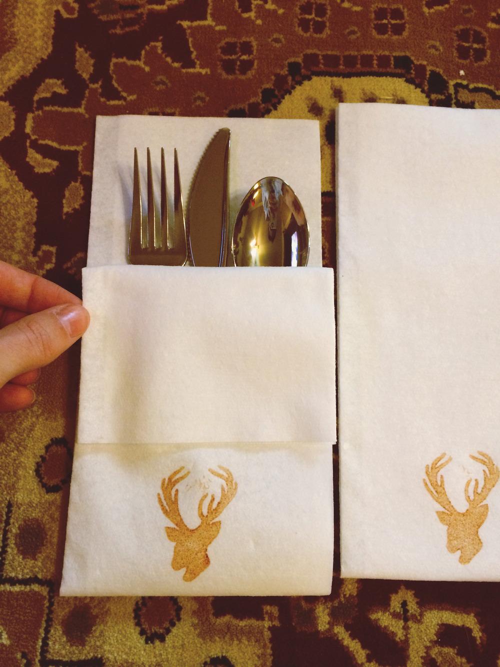 how i did it silverware bundles napkins for wedding Add silverware to napkins