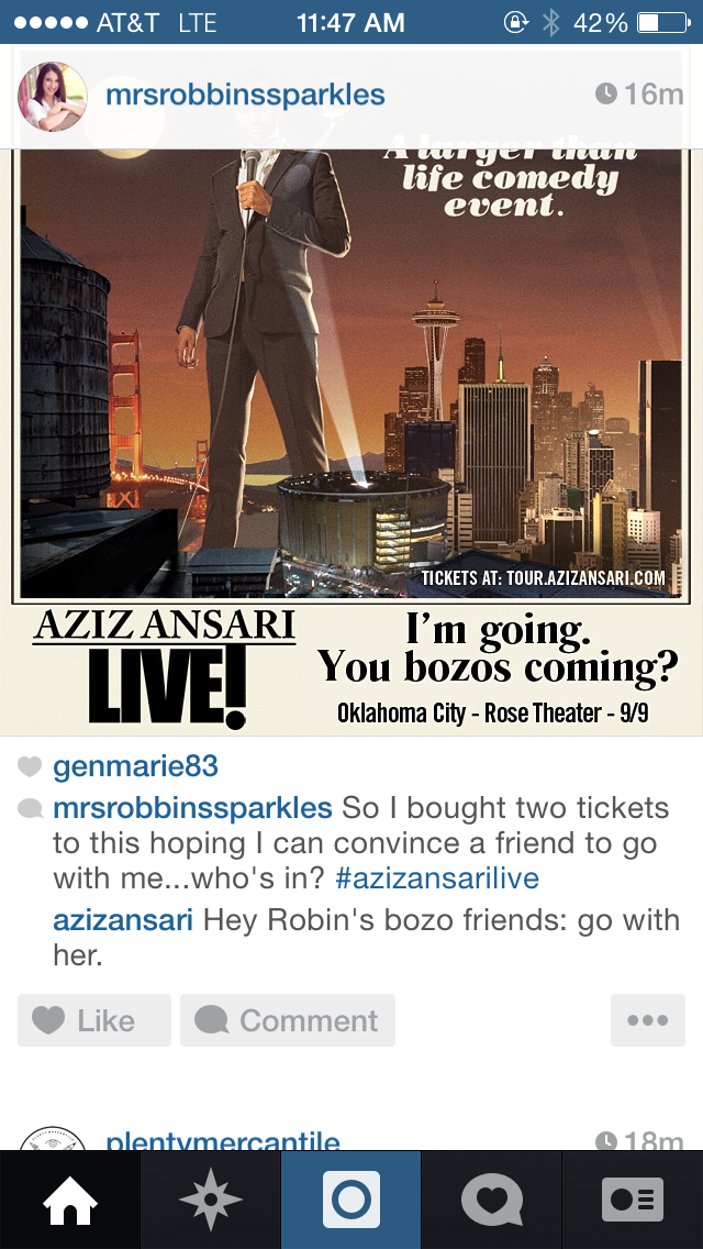 Aziz Ansari totally commented on my photo