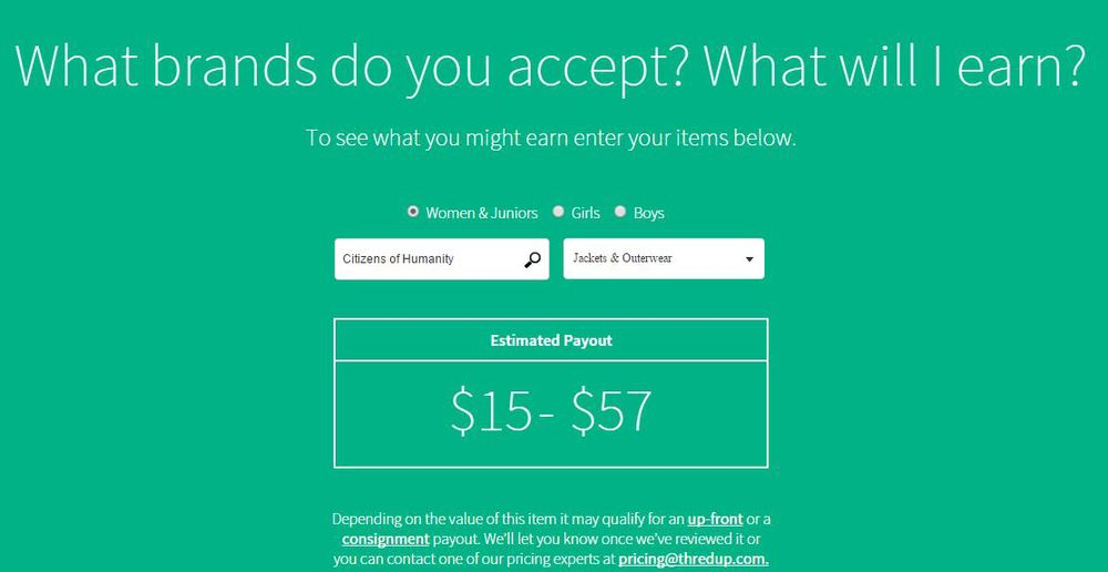 thredUP provides a calculator to help you figure out how much your clothes are worth!
