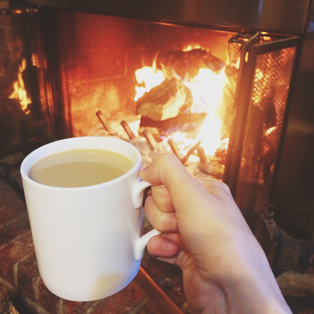 Coffee in front of the fire