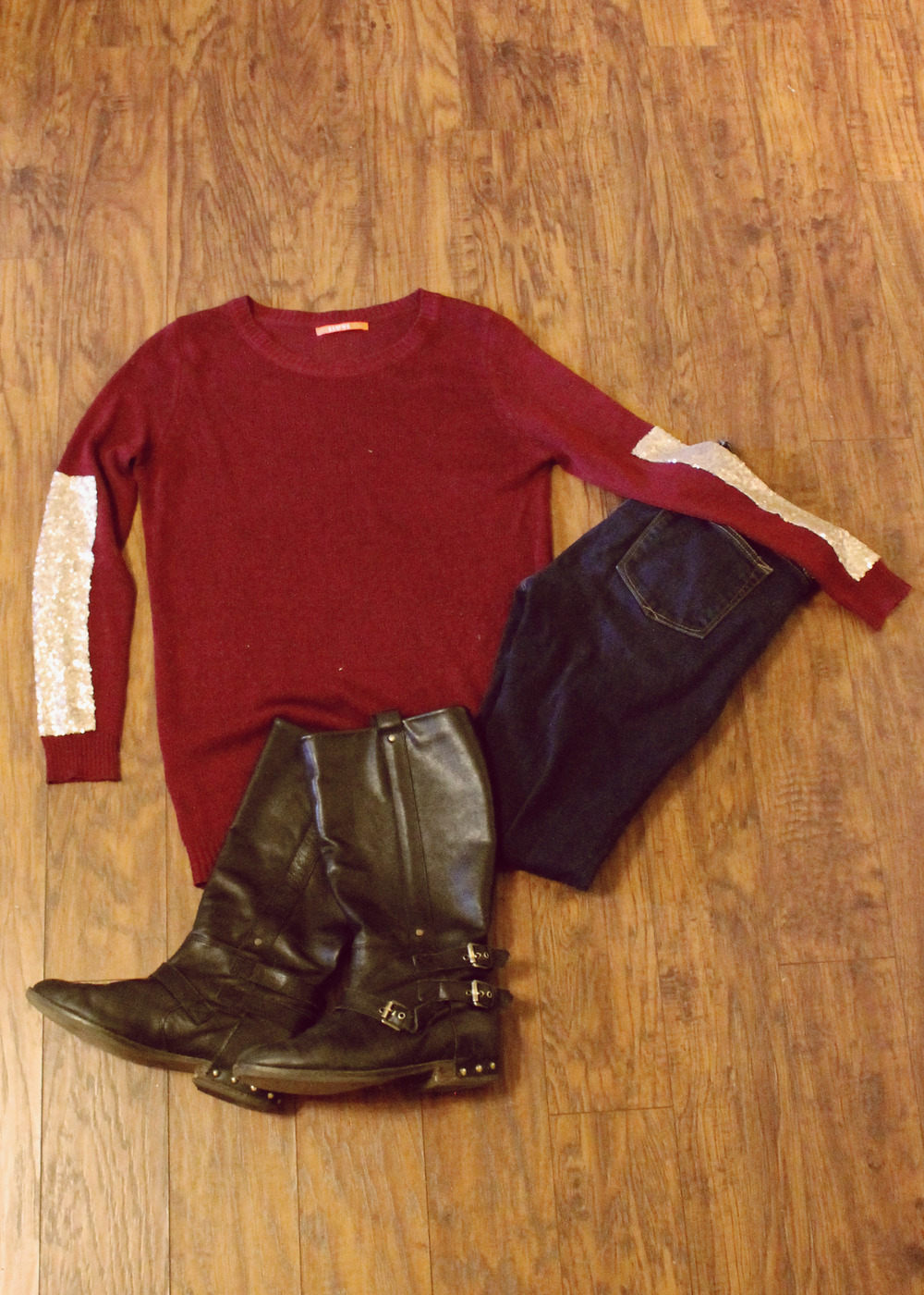 Red Sparkle Sweater, Jeans, Boots