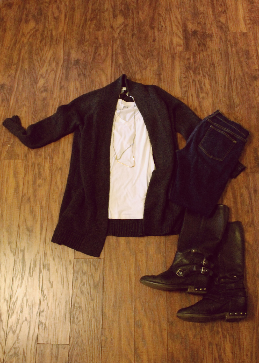 Gray Knit Cardigan, Jeans, Boots