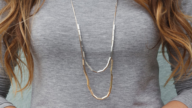 Mixed Metals Necklace, part of the Felicity Collection for Pop Basic || MrsRobbinsSparkles.com