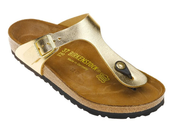 Gold Birkenstock Gizeh Sandals