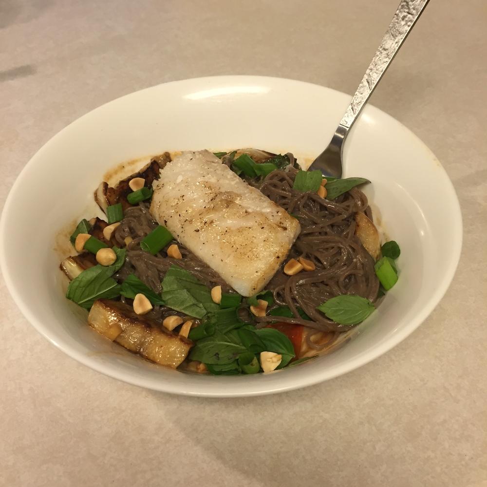 Cod & Soba Noodles - Mrs Robbins Sparkles cooks with Blue Apron