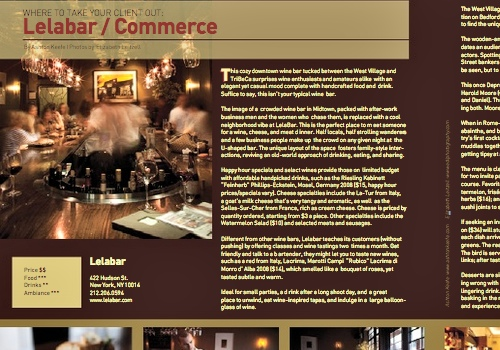 Resource Magazine, Summer 2010 Where to Take Your Client Out: Lelabar / Commerce