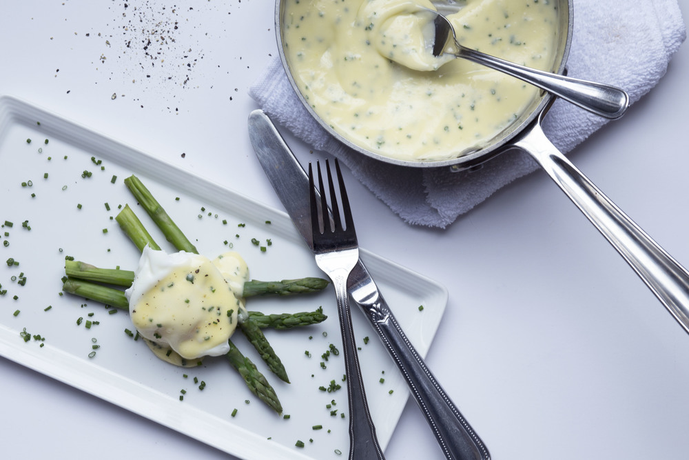 Poached Eggs with Chive Hollandaise
