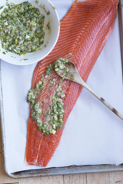 Roasted Salmon with Pea Smash