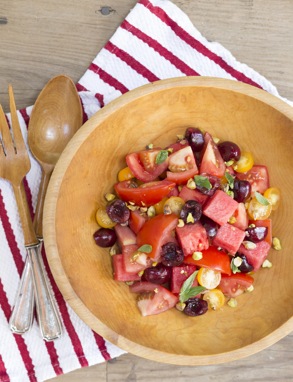 Watermelon Tomato Salad with Cherries