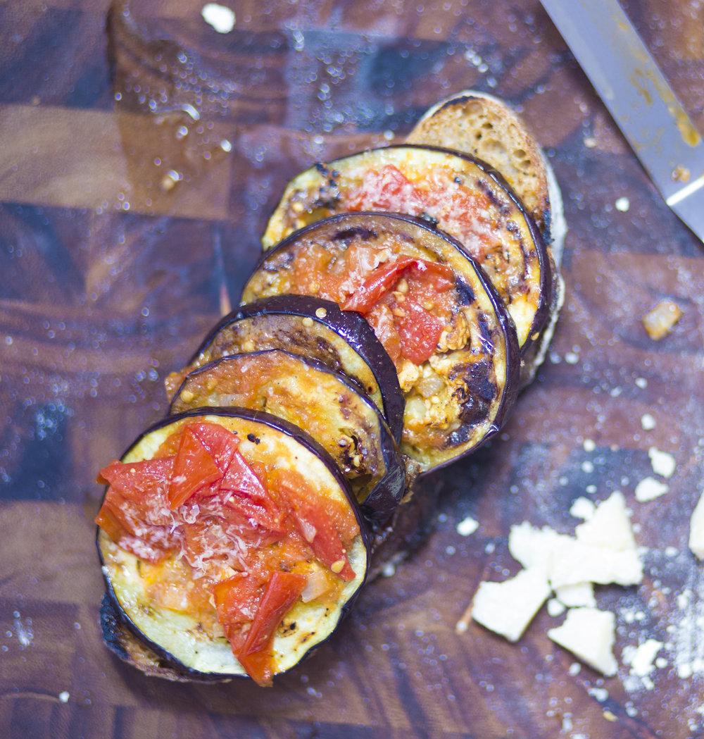 Pan Seared Eggplant Toasts