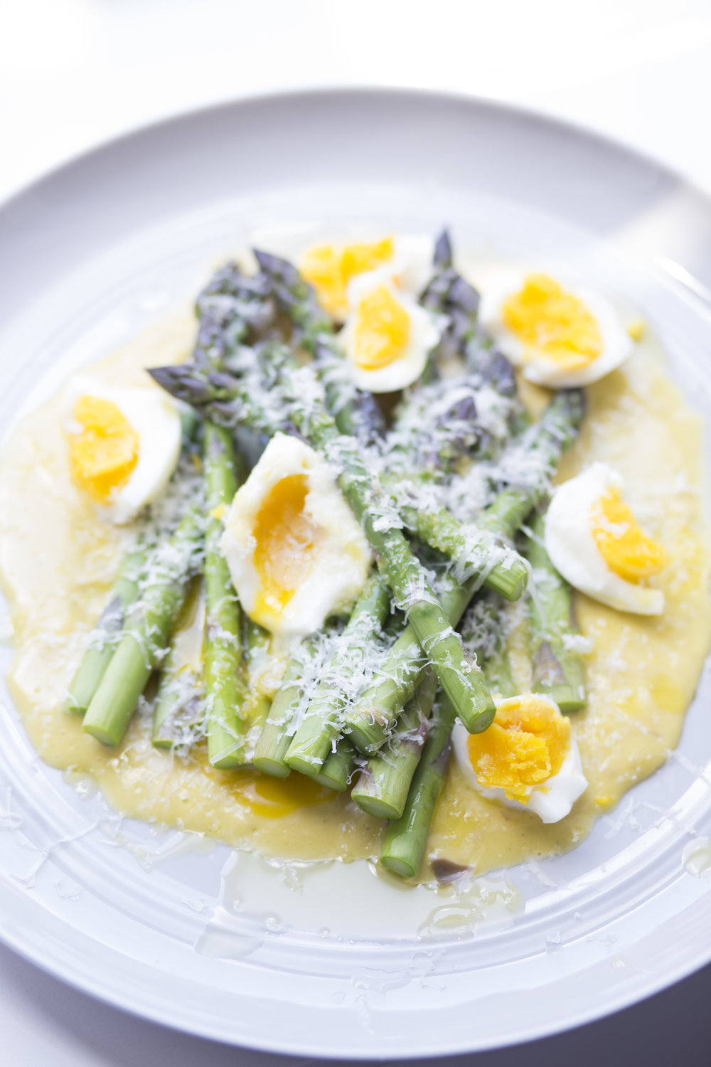 Blanched Asparagus with Eggs & Aioli