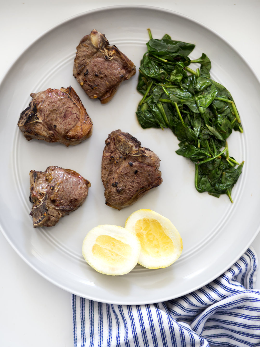 One Pan Broiler Lamb Chops & Sautéed Spinach