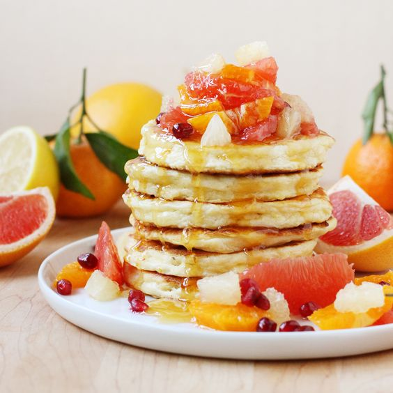 Mimosa Pancakes with Supremed Citrus