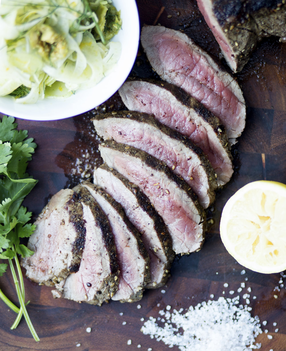Za'atar Grilled Steak with Orangey Fennel Salad