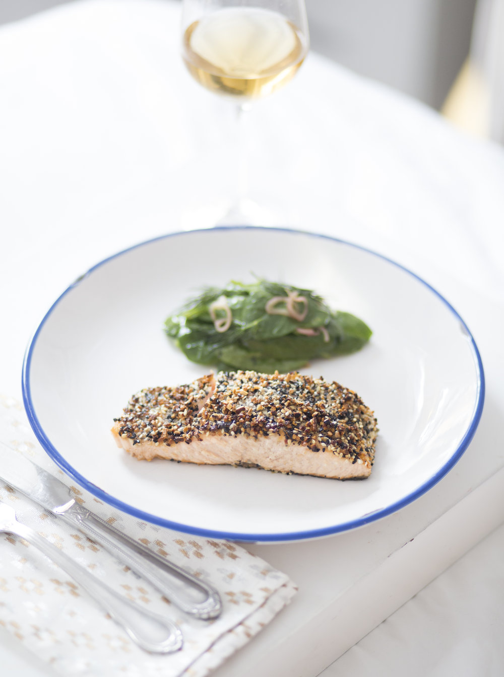 """Everything"" Salmon with Sherry Spinach Salad"