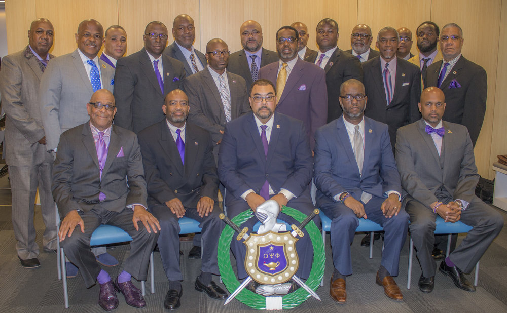 IOTA Chapter Photo, May 2017 Officers Seated (L-R) KF-Reggie Smith; VB-Melvin Slater, Sr.; Basileus-Rick Williams; KRS-Melvin Hargrett; Counselor-Clayton Harris, III