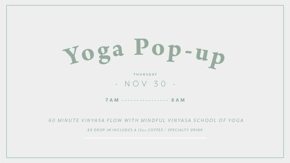 Join us for a vinyasa flow at the shop... - Kari Bordoli Yoga & Kathy Reed Yoga from Mindful Vinyasa School of Yoga are teaming up again for a pop-up yoga event at Roots Brew Shop. The drop in fee is $8 and includes a 60 minute vinyasa style yoga flow (accessible for all) and a coffee or 12oz specialty drink. Cash or card accepted. We can't wait to see you!Please bring a mat and small towel.