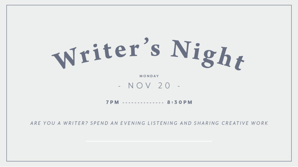 Are you a writer? - Trick question... everyone can be a writer! Come work from the brew shop from 7-8 and listen to and or share the creative writing you've been working on (strictly listening is fine too, wink wink).