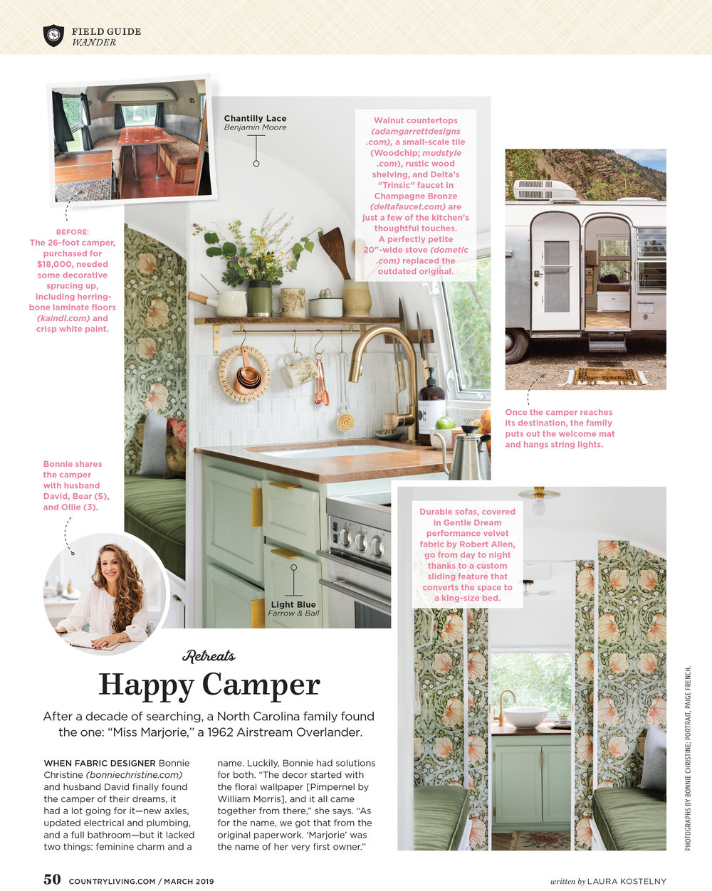 thanks to Country Living magazine for using my portrait of designer Bonnie Christine - March 2019 issue