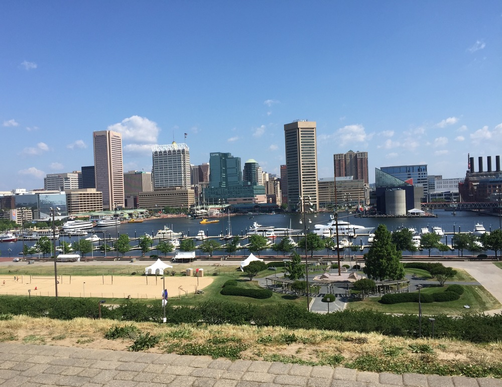 """The view overlooking one of the city's first """"gentrification""""- the inner harbor area."""