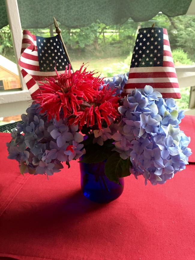 Patriotic bouquet on our screen porch.