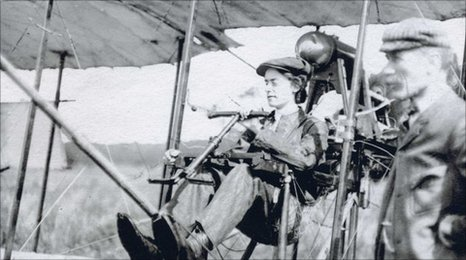 Lilian Bland in her self-built plane- The Mayfly.  Image found: http://news.bbc.co.uk/local/cornwall/hi/people_and_places/history/newsid_8956000/8956919.stm