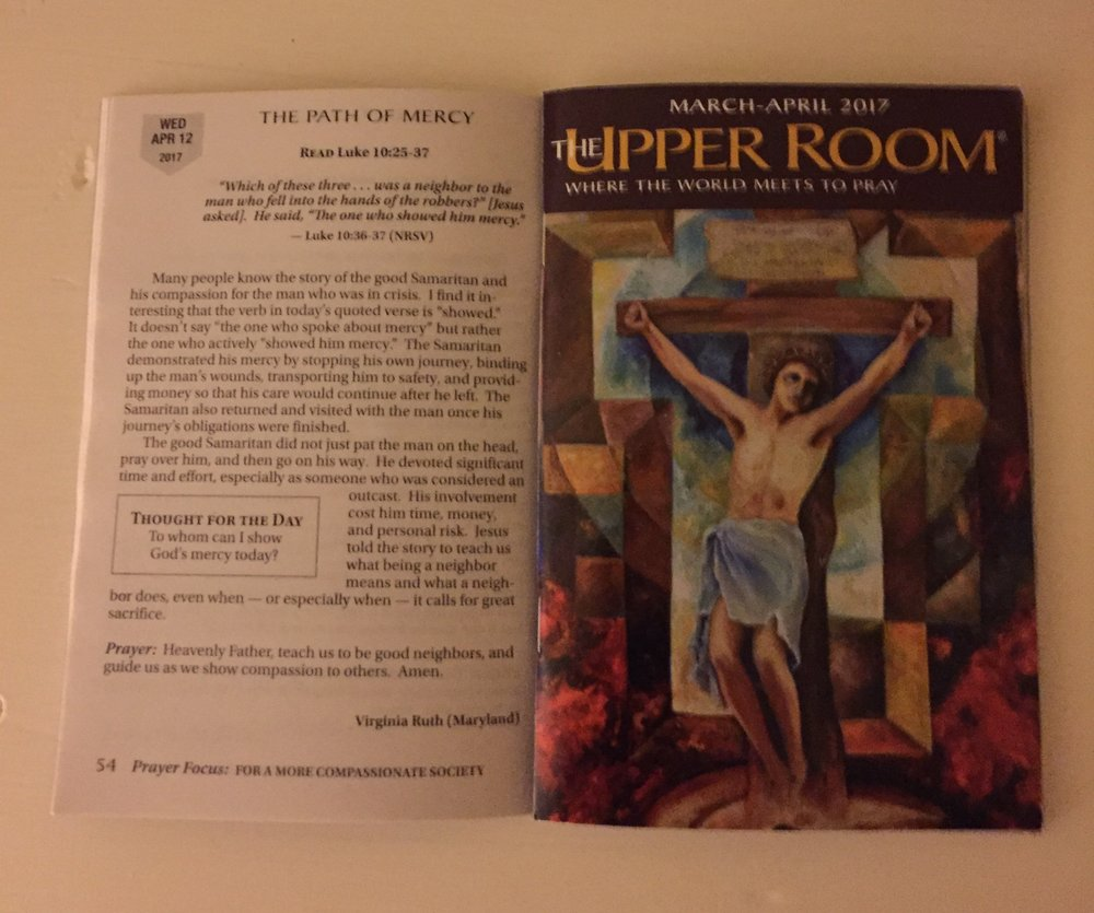 Just received my copy of the Upper Room and low and behold on page 54....