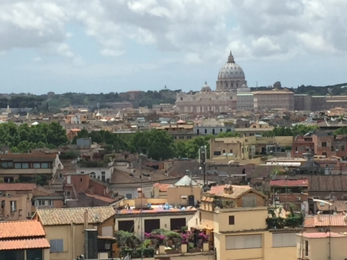 Overlooking the eternal city.  The dome is St. Peter's Basilica.