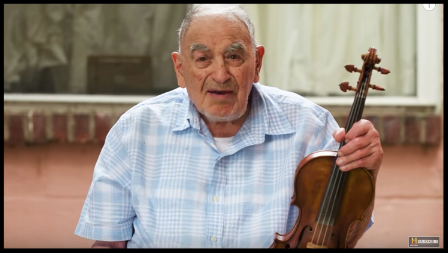 Playing the violin for ninety-one years....