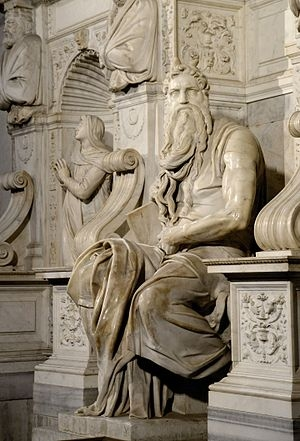 Michalengelo's Moses found in the church: San Pietro in Vincoli, Rome. We've been there. The statue is exquisite. You expect Moses to stand up and speak.