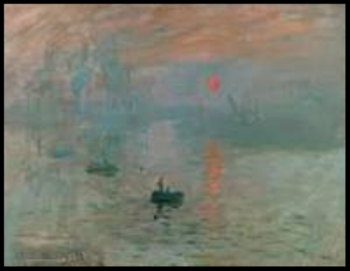 "Sunrise  is a painting by Claude Monet first shown at what would become known as the ""Exhibition of the Impressionists"" in Paris in April, 1874."