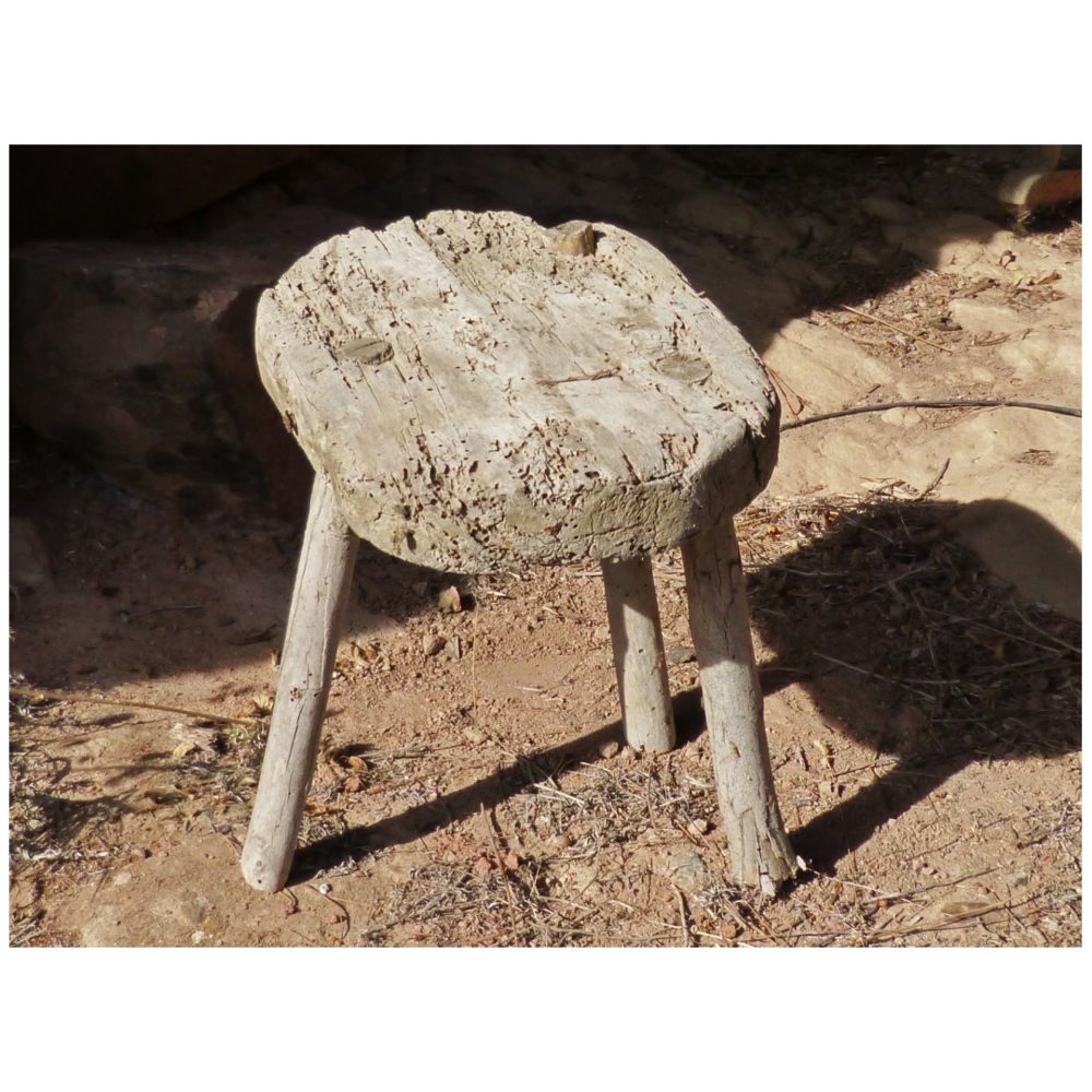 Full disclosure: This is  not  the stool my son made. I have his in our outside shed. Because all our summer equipment is in the shed, I couldn't reach the stool to get it out for a picture. Perhaps I need to de-clutter….