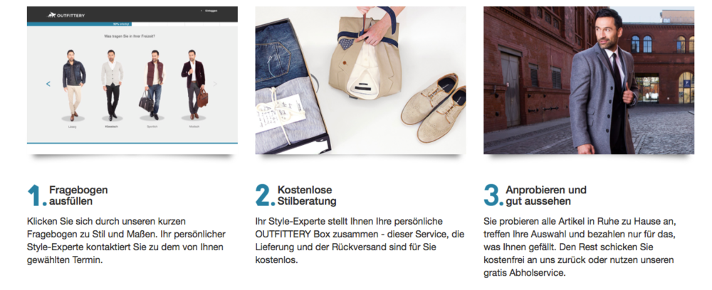 Outfittery's shopping process made simple: 1) fill in your preferences 2) get your personal free advice 3) try at home (source: outfitters.de website)