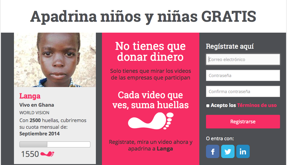 Screenshot of the Grinbuzz website: registrate, then watch video's for a good cause