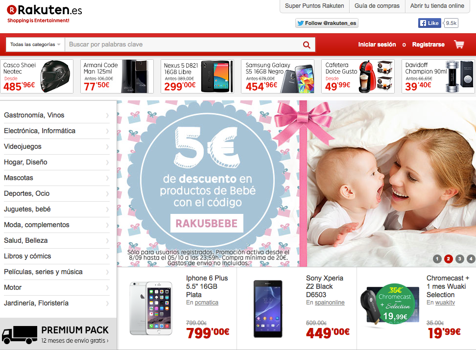 Rakuten.es website