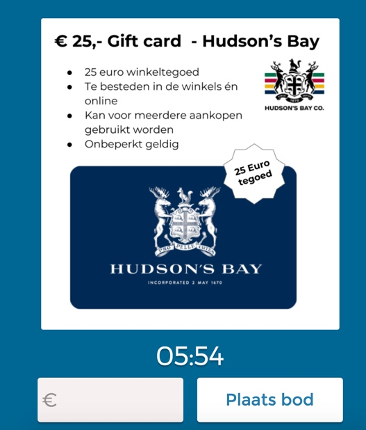 Bidding for Hudson's Bay shopping Credit in a Veylinx real life auction