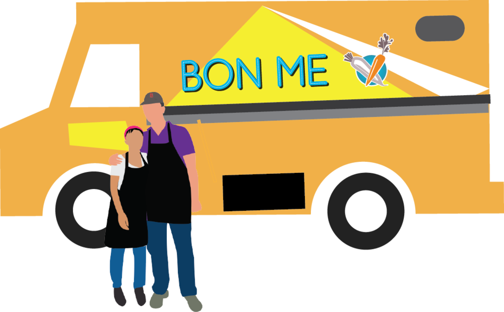 "Founders Alison Fong and Patrick Lynch started Bon Me in 2011, transforming a used DHL delivery truck bought from a guy named ""Big Jim"" to make the first of 7 colorful food trucks."