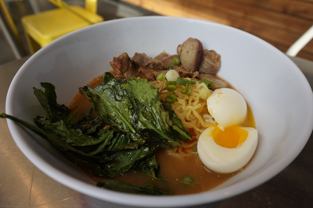 flash roasted kale adds a unique texture element to the ramen