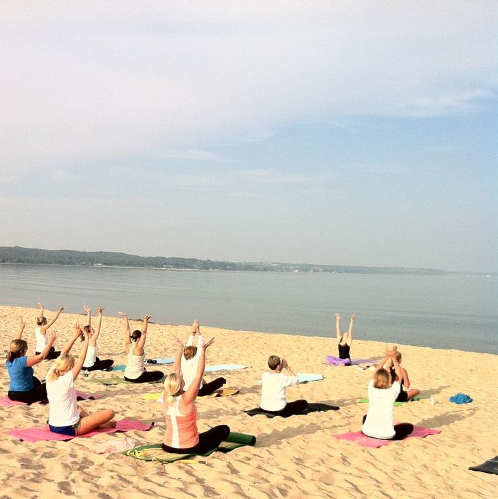 Harbor Springs, Michigan 2013 Beach Yoga with Larbre Croche Association led by Kimi