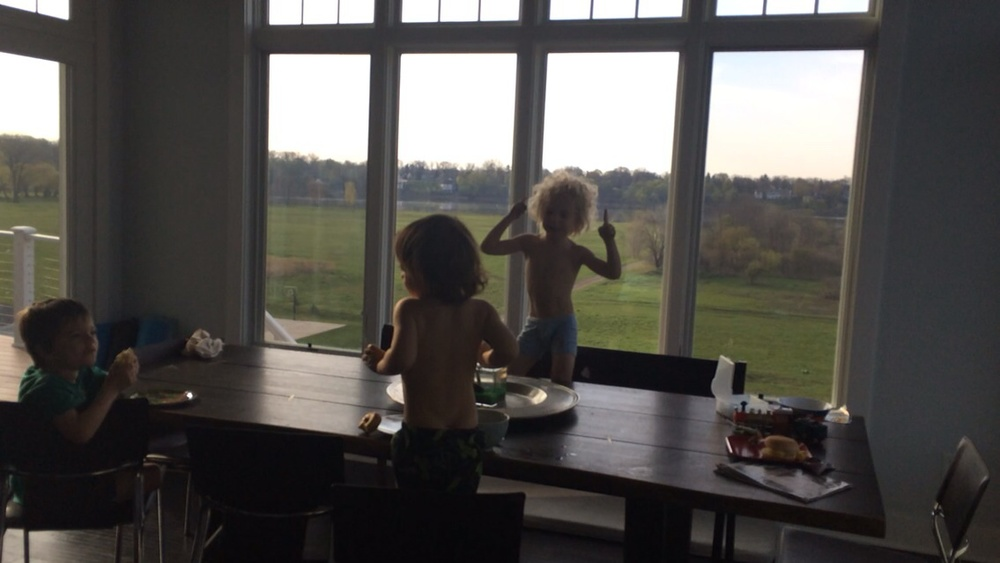 "Breakfast Dance Party bc that's how we roll! ""This is my jam, mom!"" -Oscar"