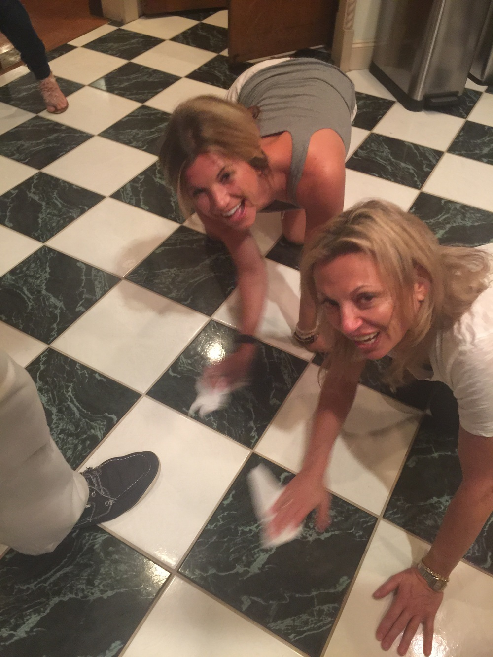 Earning our keep...washing floor🙊 Dr. G and me cleaning up😘